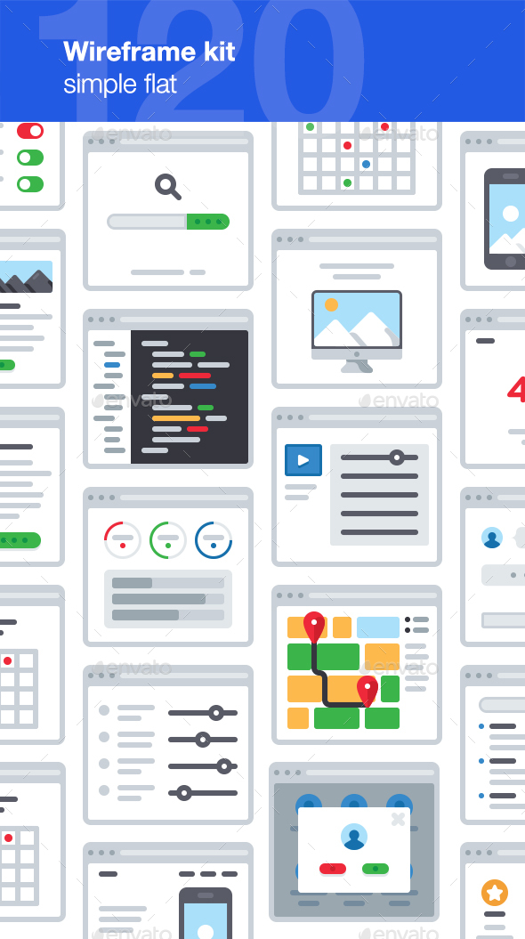 UX Wireframe Kit - User Interfaces Web Elements