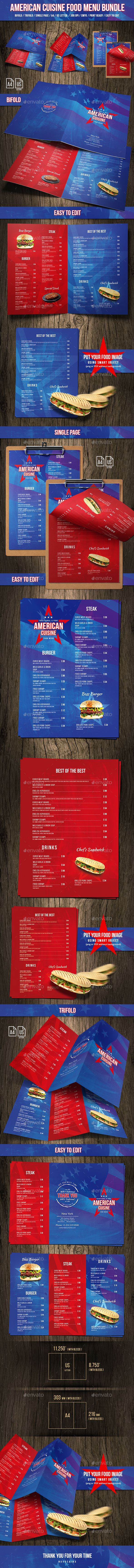 American Cuisine Food Menu Bundle - Food Menus Print Templates