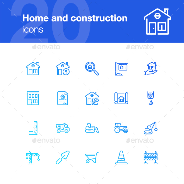 20 Home and construction icons - Buildings Objects