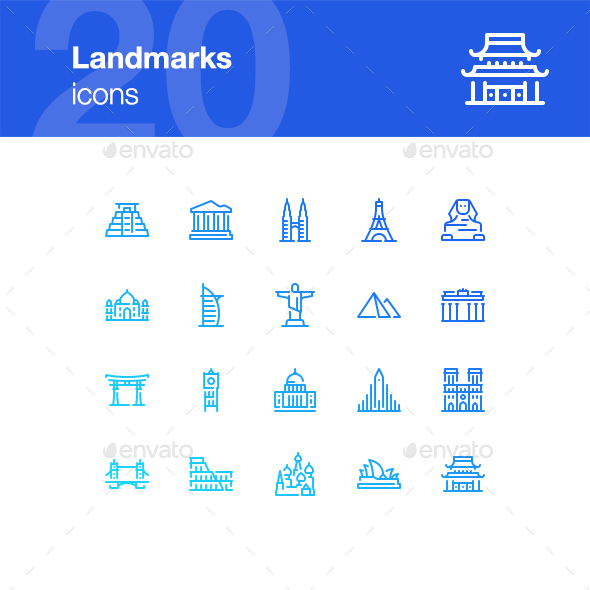 20 Landmarks icons - Buildings Objects