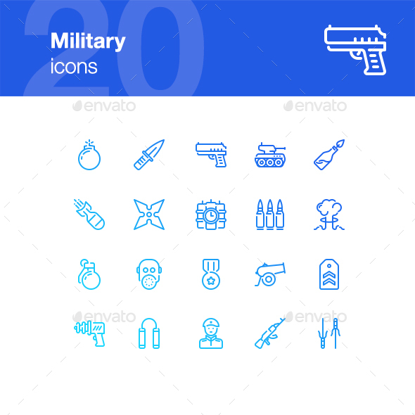20 Military Icons - Objects Icons
