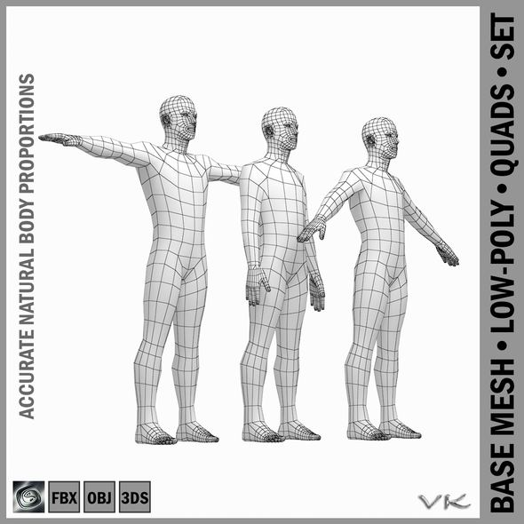 Male Body Base Mesh with Detailed Head and Limbs in 3 Poses - 3DOcean Item for Sale