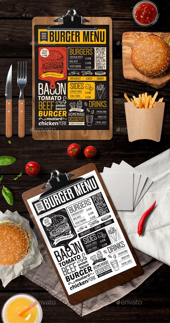 Burger Food Menu - Food Menus Print Templates