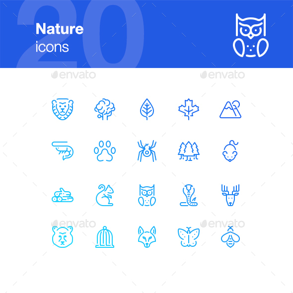 20 Nature icons - Animals Characters