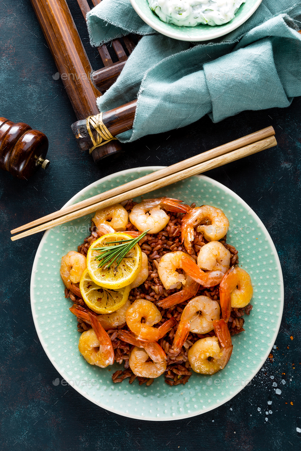 Prawns roasted on grill - Stock Photo - Images