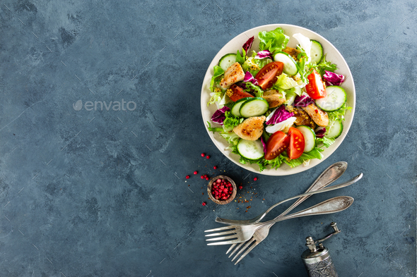 Fresh vegetable salad with chicken breast - Stock Photo - Images