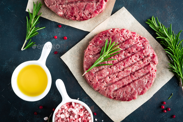 Fresh minced beef meat burgers - Stock Photo - Images