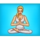 Vector Pop Art Girl Meditates in Lotus Position