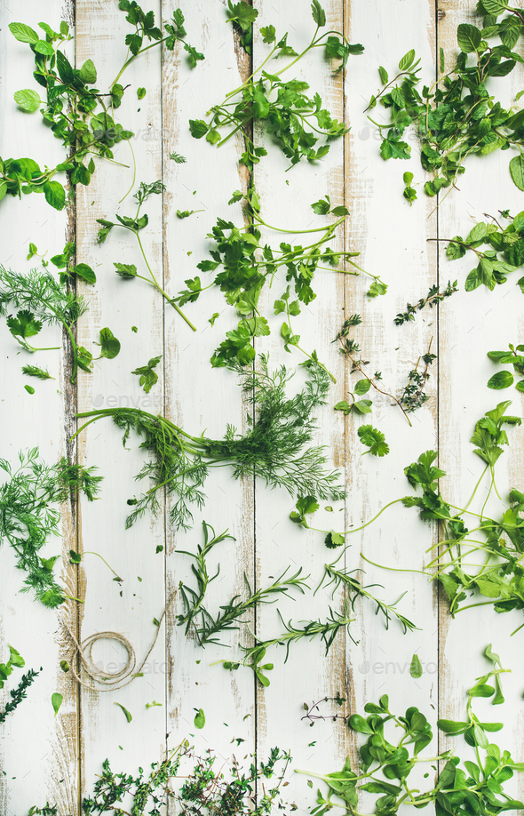 Various fresh green kitchen herbs for healthy cooking - Stock Photo - Images