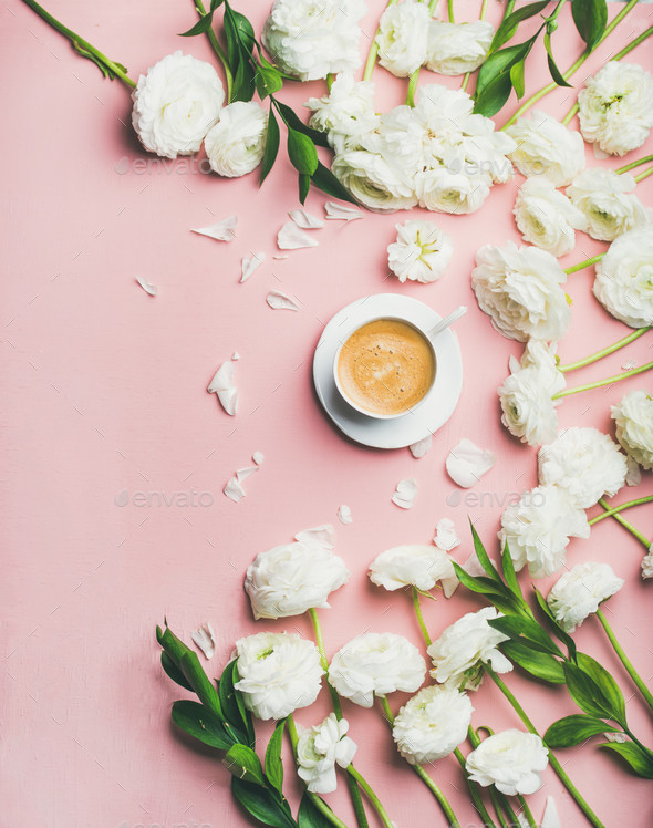 Flat-lay of cup of coffee and ranunculus flowers, copy space - Stock Photo - Images