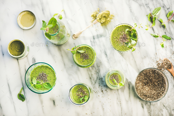 Matcha green vegan smoothie with chia seeds, top view - Stock Photo - Images