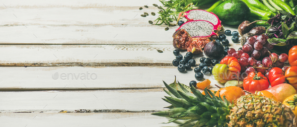 Helathy raw vegan food cooking background, copy space - Stock Photo - Images