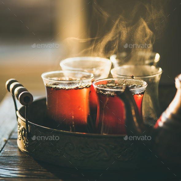 Freshly brewed black tea in turkish glasses, square crop - Stock Photo - Images