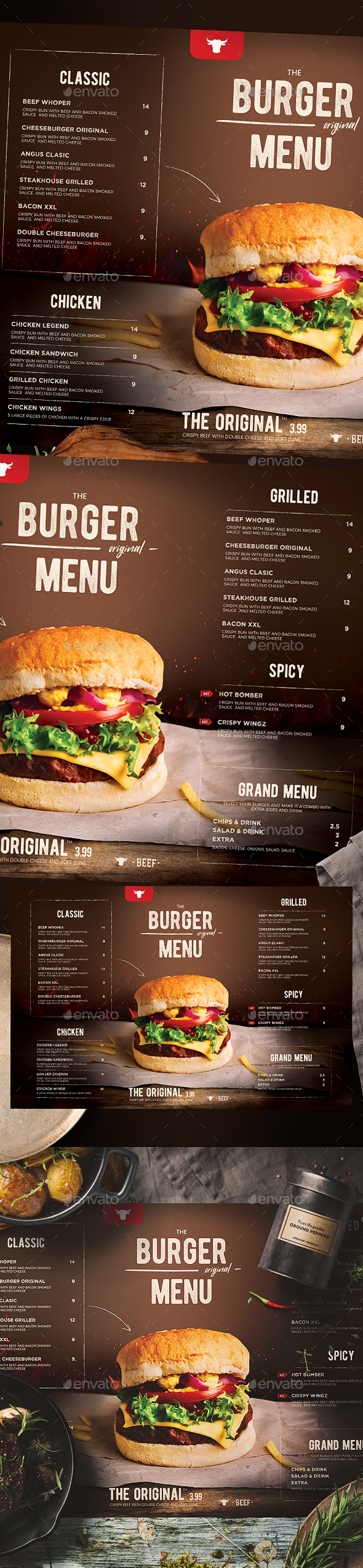 Burger Menu - Food Menus Print Templates
