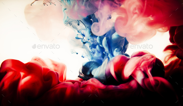 paint of splash, blue and red abstract - Stock Photo - Images