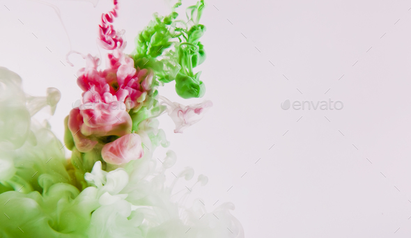 paint of splash, green and red abstract - Stock Photo - Images