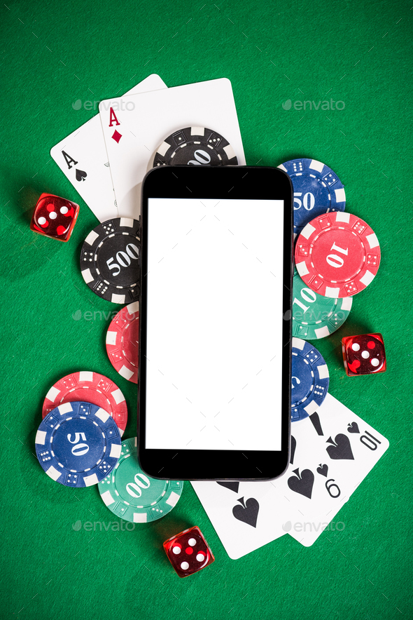 Gambling on mobile phone mock up - Stock Photo - Images