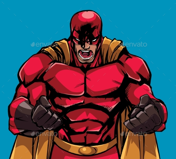 Raging Superhero Scream - People Characters