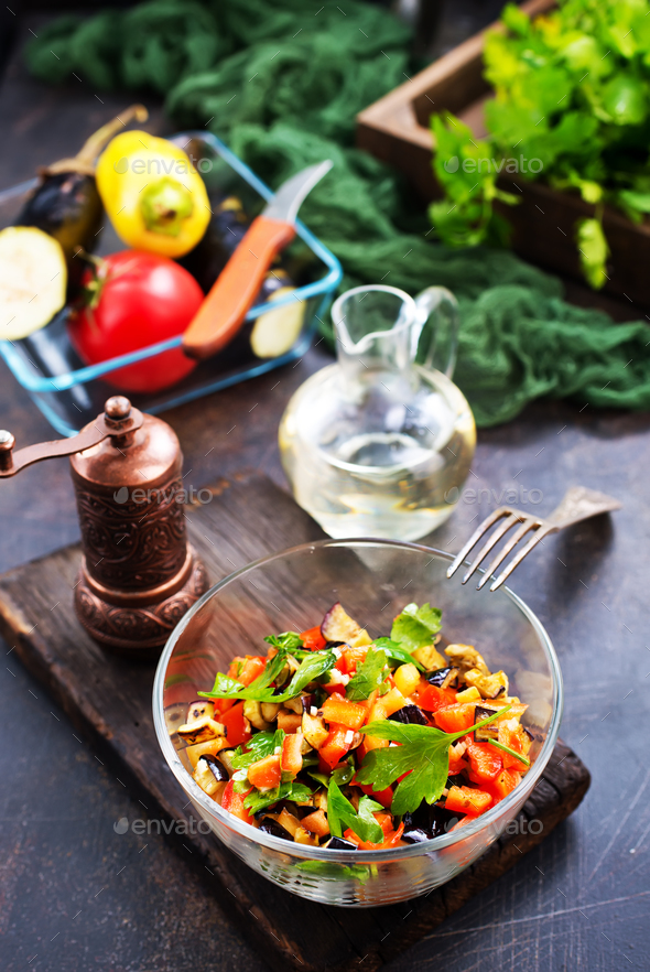 fried eggplant and red pepper - Stock Photo - Images