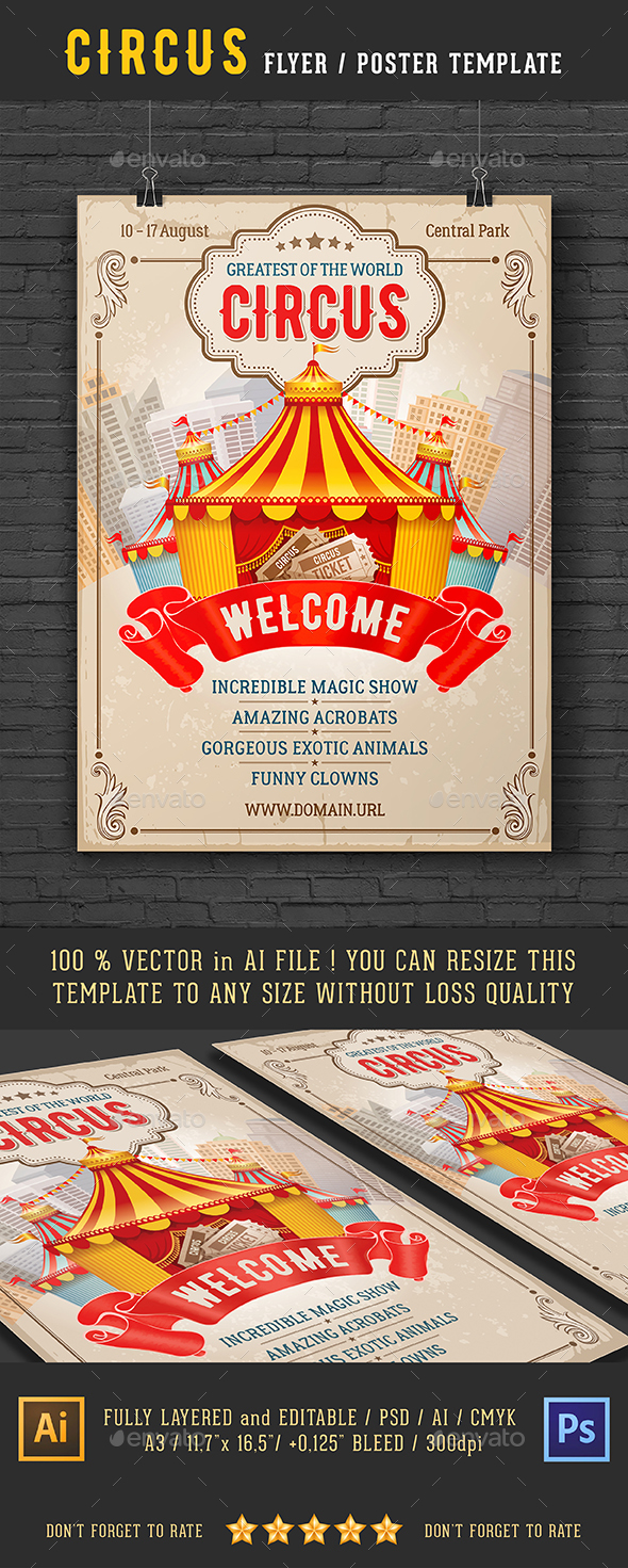 Vintage Circus Event Flyer Or Poster Template - Events Flyers