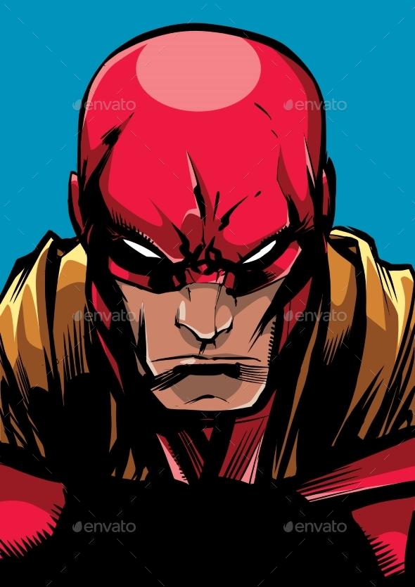 Superhero Portrait Line Art 2 - People Characters