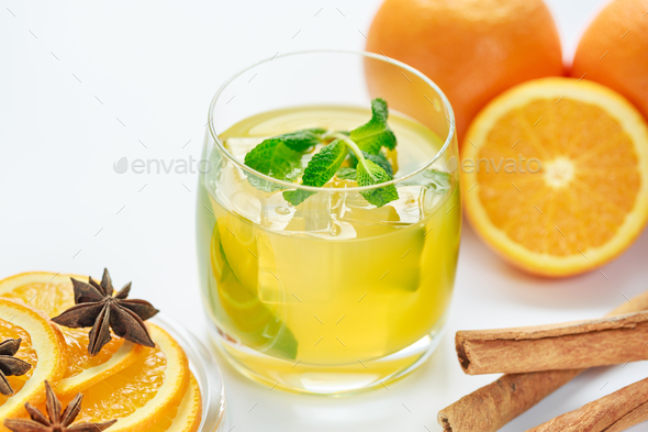 Juice from fresh oranges and spices - Stock Photo - Images