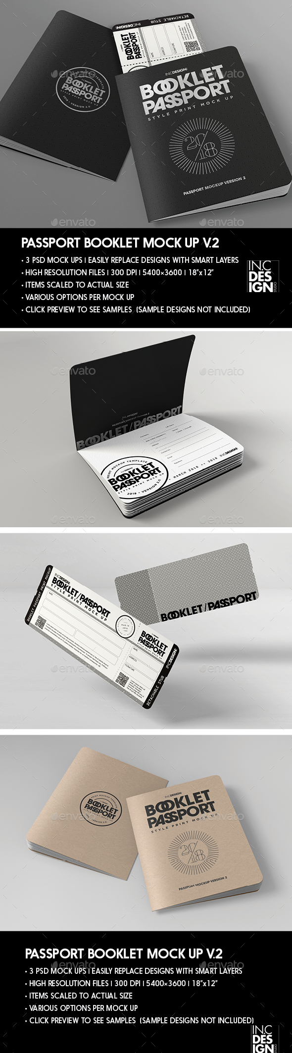 Passport Booklet Boarding Pass MockUp v.2 - Print Product Mock-Ups