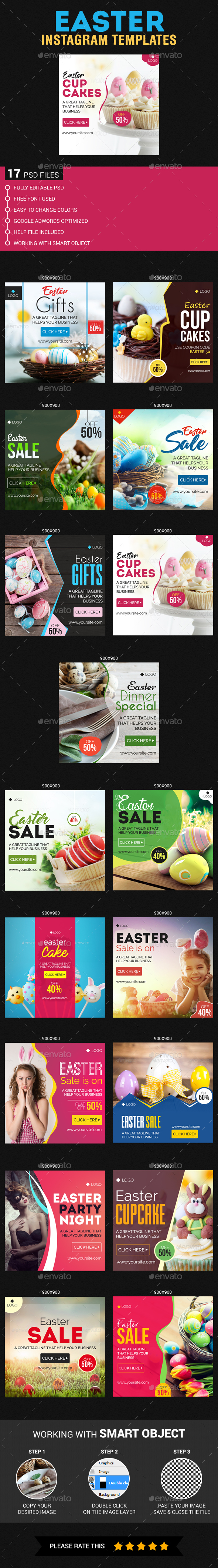Easter Instagram Templates - Banners & Ads Web Elements