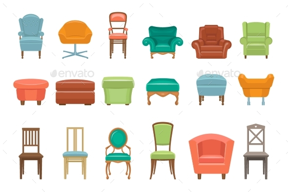 Collection of Different Types of Seating - Man-made Objects Objects