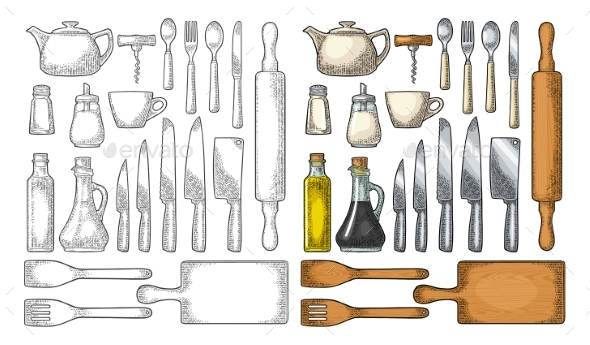 Set of Kitchen Utensils - Food Objects