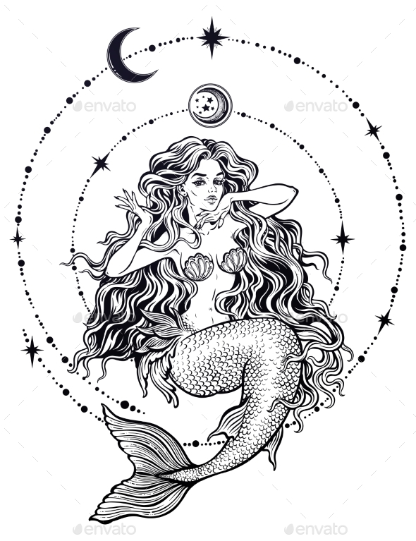 Mermaid Girl with Fairytale Hair with Stars and Moon - Miscellaneous Characters
