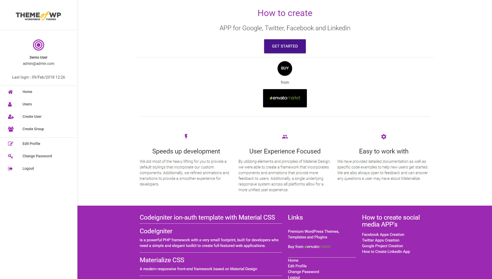 CodeIgniter ion-auth Template With Material Design for Bootstrap ...