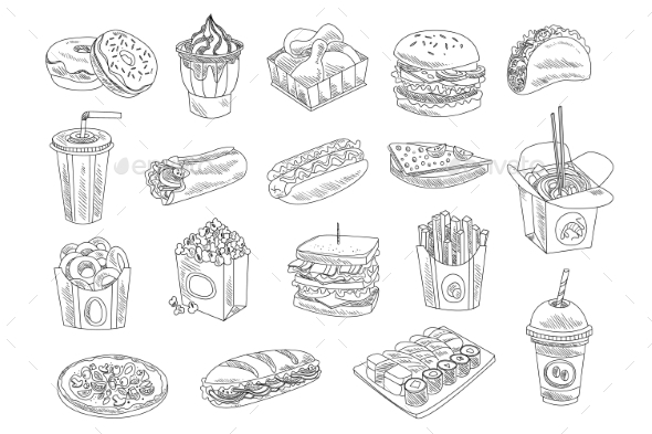 Fast Food and Drinks Sketch Set - Food Objects
