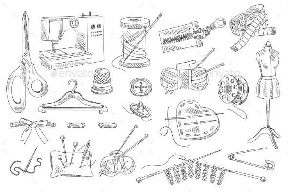 Vector Set of Hand Drawn Sewing and Knitting Icons - Man-made Objects Objects