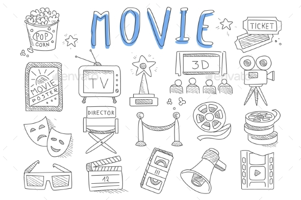 Vector Set of Doodle Icons Related To Cinema - Man-made Objects Objects