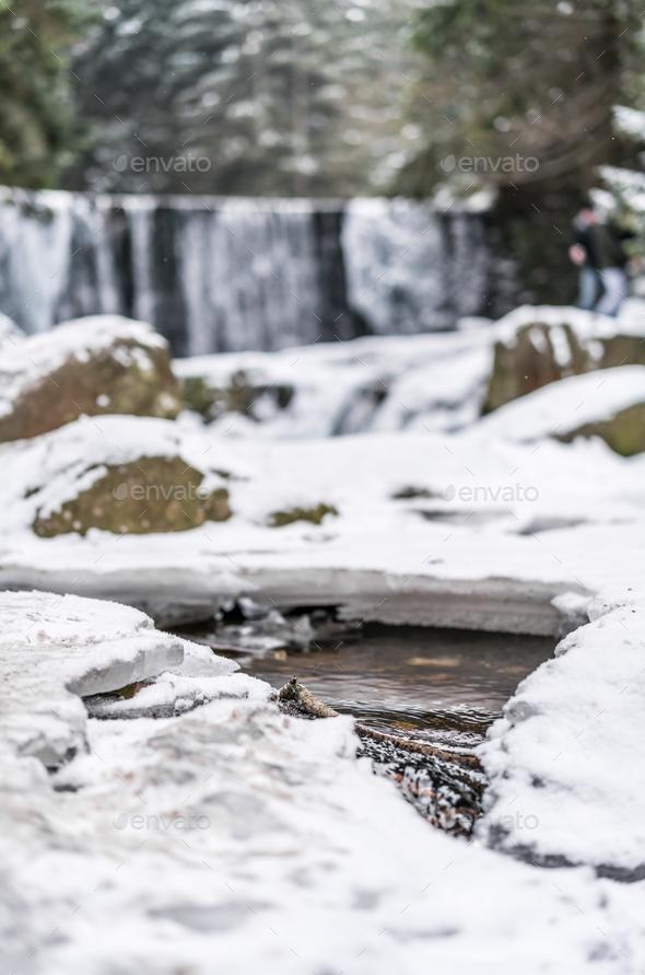 Wild Waterfall in Karpacz - Stock Photo - Images