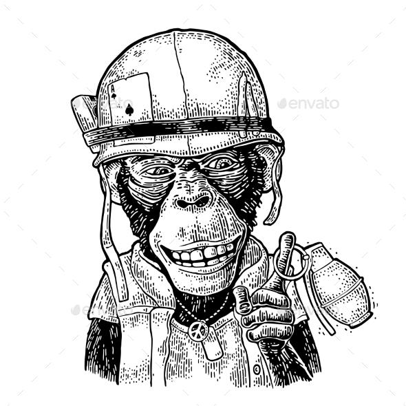Monkey in Soldier Helmet Holding Grenade - Animals Characters
