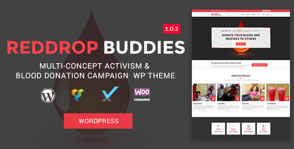 Image of Reddrop Buddies – Multi-Concept Activism & Blood Donation Campaign WordPress Theme