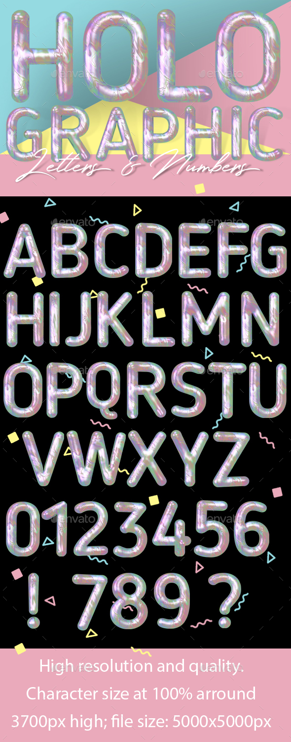 Modern Liquid Marble Holographic 3D Typeface - Text 3D Renders