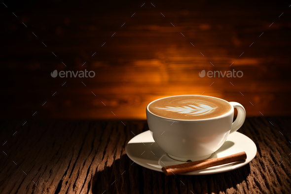 Cup of coffee latte - Stock Photo - Images