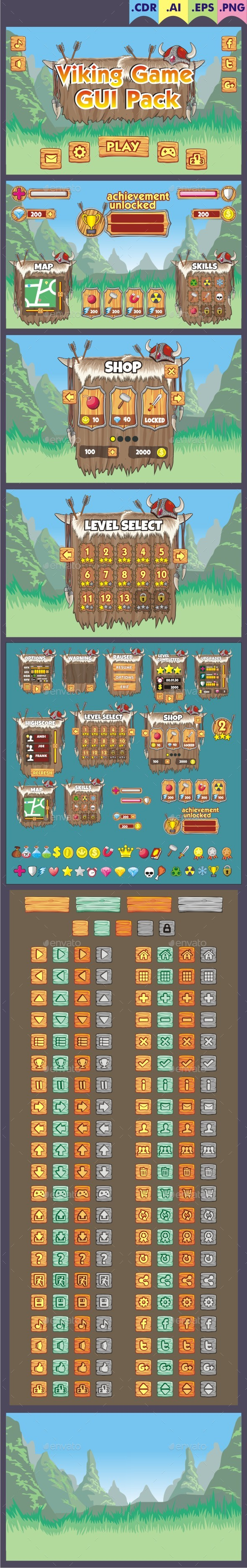 Viking Game Gui Pack - User Interfaces Game Assets