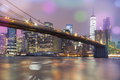 View of Brooklyn Bridge by night, NYC. - PhotoDune Item for Sale