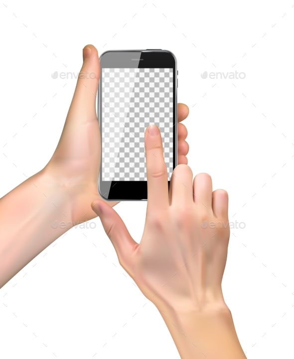 Realistic Hand Holding Mobile Phone Isolated - Computers Technology