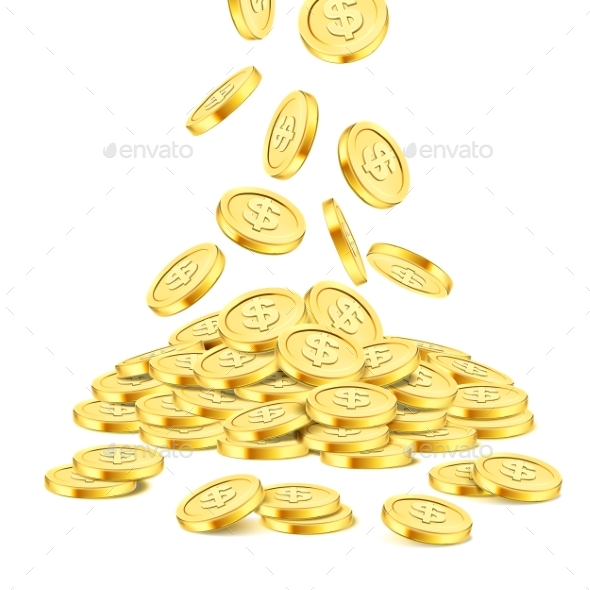 Realistic Gold Coin Stack on White Background - Concepts Business