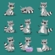Raccoon Vector Illustration Cartoon Set