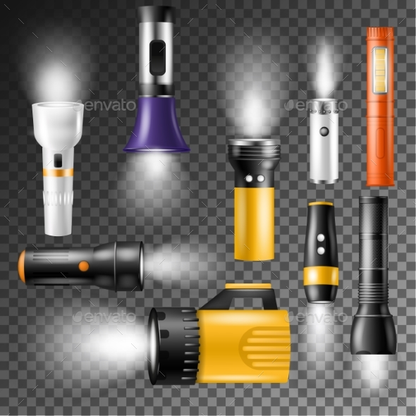Flashlight Vectors with Light - Man-made Objects Objects