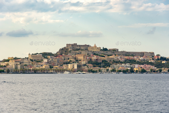 Milazzo town seen from the sea at sunset - Stock Photo - Images