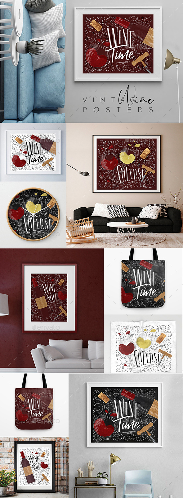 Vintage Wine Posters - Food Objects