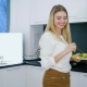 Healthy Lifestyle of Young Woman with Plate of Food Into Hand for Breakfast - VideoHive Item for Sale