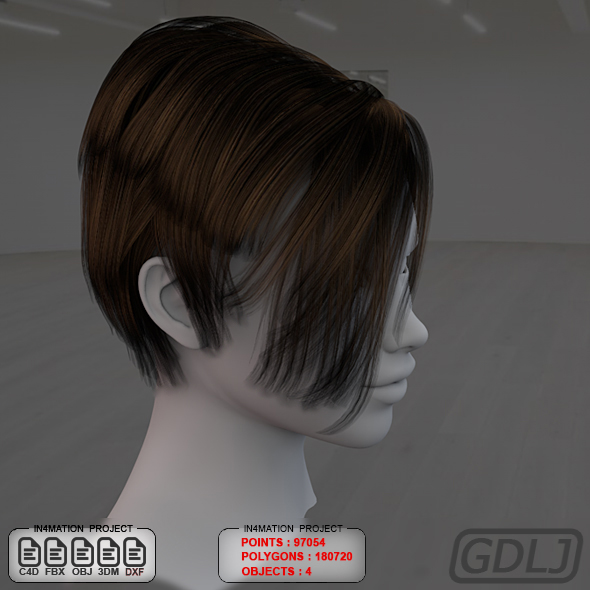 Short Hair Female 3D Models Full Textures